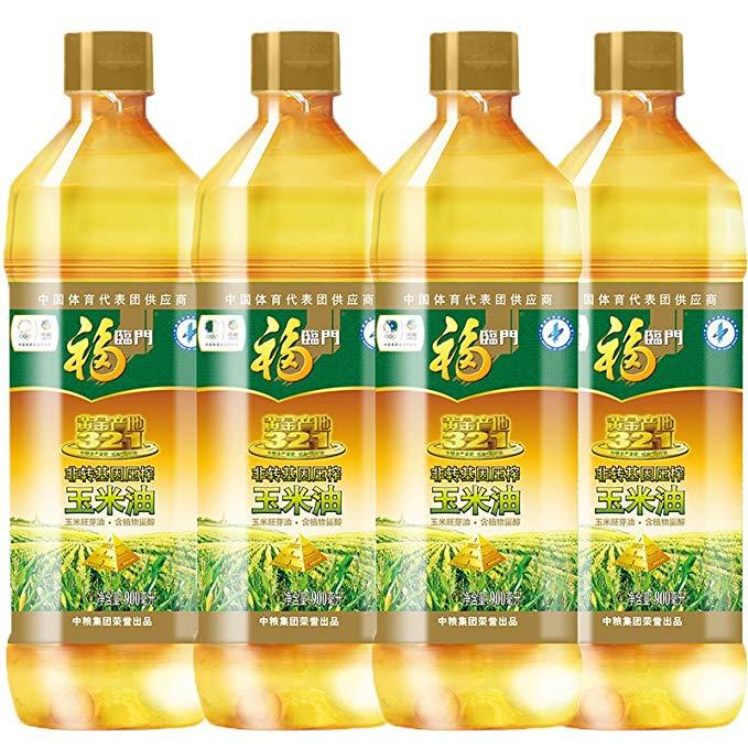 Fulinmen Non-GMO ép vàng nguồn gốc ngô dầu ngô mầm dầu phong phú trong thực vật sterol (900ml * 4 kế