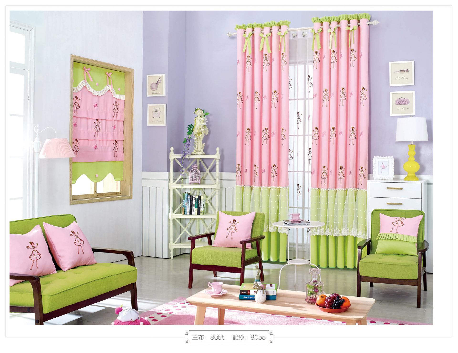 Vải rèm thành phẩm Nhung niêm yết hoạt hình trẻ em ngủ màn vải thêu thành hiện trường bán buôn
