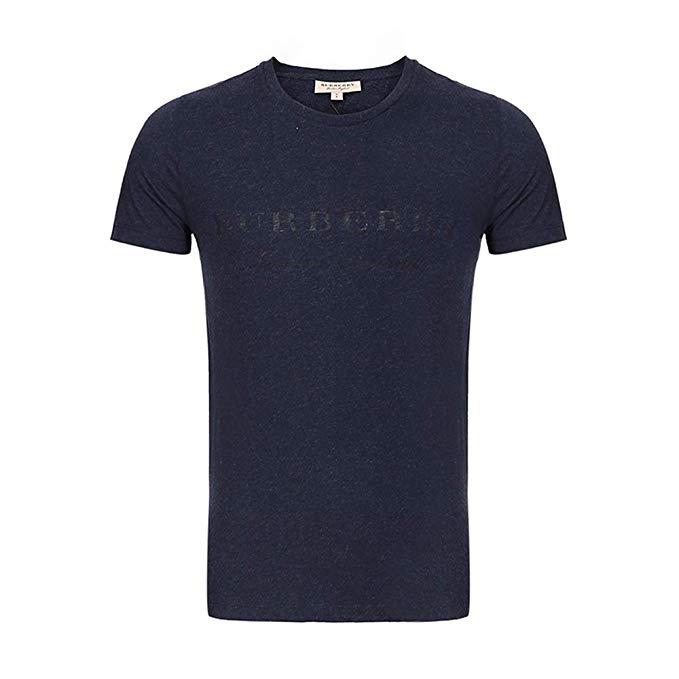 BURBERRY nam màu xanh hải quân và màu xám pha trộn vòng cổ ngắn tay áo t-shirt 40561291
