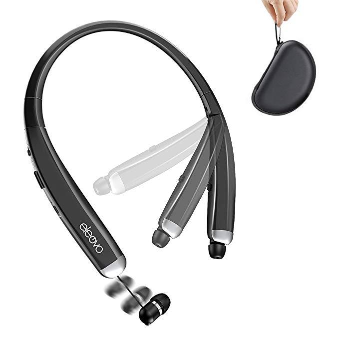 Eleovo có thể gập lại bluetooth tai nghe không dây thể thao neckband tai nghe với có thể thu vào tai