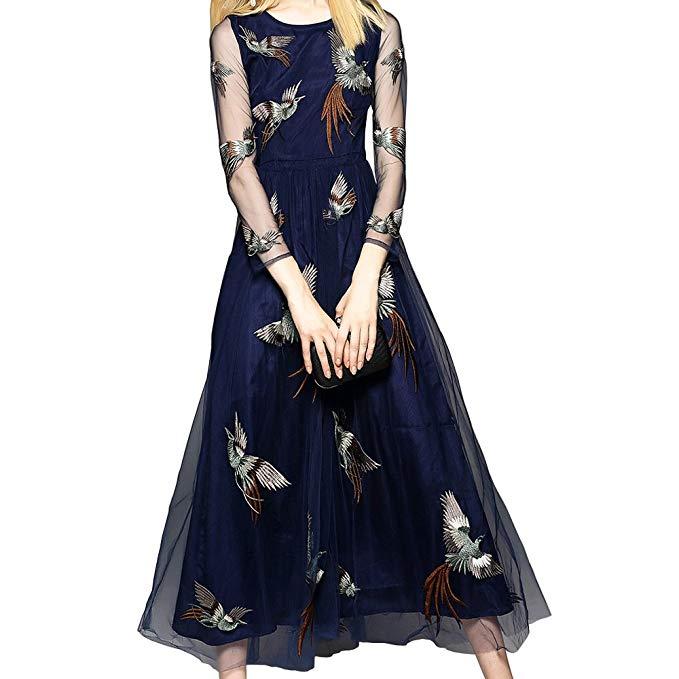PINGORA 2018 phụ nữ mới của Châu Âu và Mỹ phong cách thanh lịch slim slimming thêu dài ăn mặc dài vá