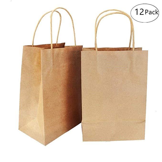 Túi giấy kraft màu nâu - túi quà bên có tay cầm - 12 miếng 6.3