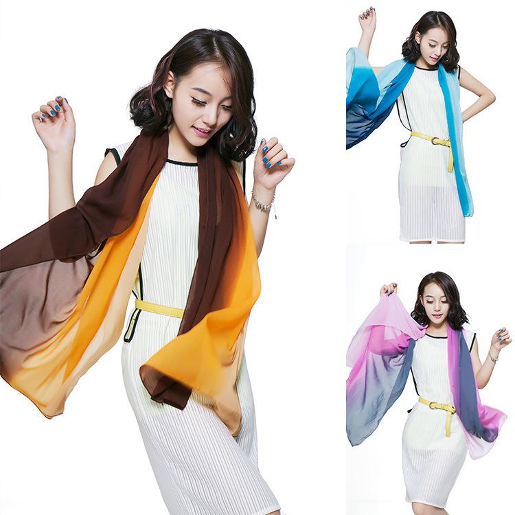 2016 mùa hè mới voan chuyển tiếp màu gradient khăn lụa quà tặng khăn lụa thương mại nước ngoài khăn