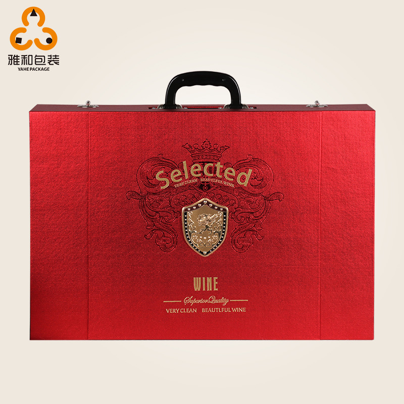 Cầm tay sáu- gói hộp rượu vang tại chỗ chung rượu vang hộp quà tặng giữa mùa thu giả da rượu vang hộ