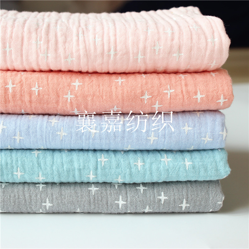 Bông hai lớp gạc Hai lớp vải crepe xếp li vải kết cấu Bông crepe in ấn Quần áo trẻ em vải