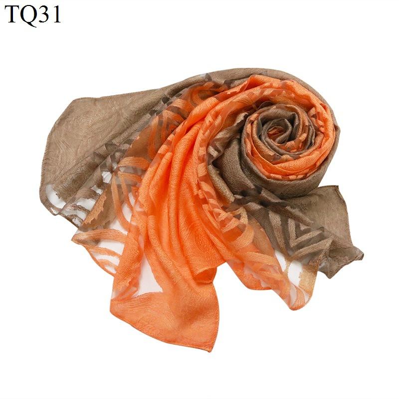 New gradient cắt hoa khăn nữ organza openwork ren kem chống nắng khăn choàng bãi biển khăn khăn lụa