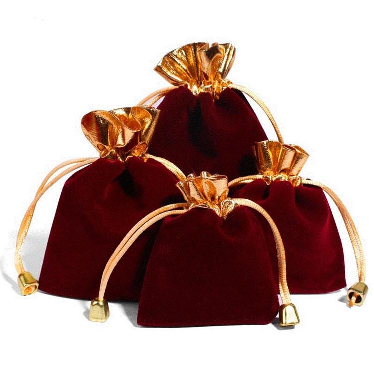 Hot đỏ Phnom Penh miệng vàng dây kéo nhung túi Kit đồ trang sức bó nhung túi có thể được BIỂU TƯỢNG