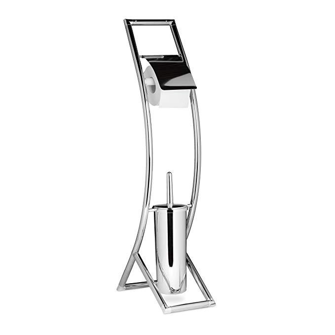 Bộ dụng cụ nhà vệ sinh thư giãn Curvy HBT: 81 x 17 x 30 cm Bộ giữ bàn chải vệ sinh Kim loại thép khô