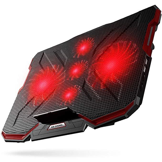 5 quạt làm mát máy tính xách tay, miếng làm mát siêu mỏng xách tay, đèn LED màu đỏ, cổng USB 2.0 kép