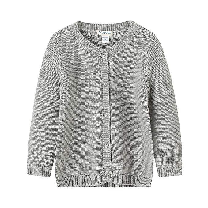 Áo len xám tay dài cho bé gái BOSBOOS