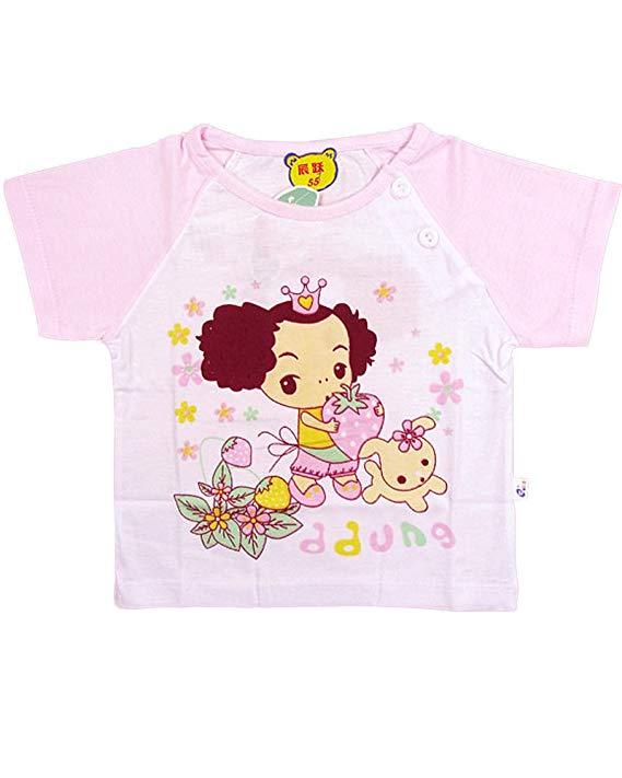 Áo thun cotton ngắn tay trẻ em hình bé gái Meng Kaqi