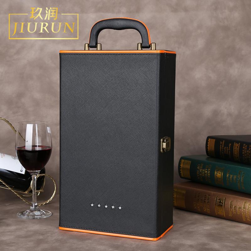 Lễ hội trung thu rượu vang đỏ hộp quà tặng an toàn chống rơi sáng tạo tùy chỉnh cao cấp hộp da hộp r