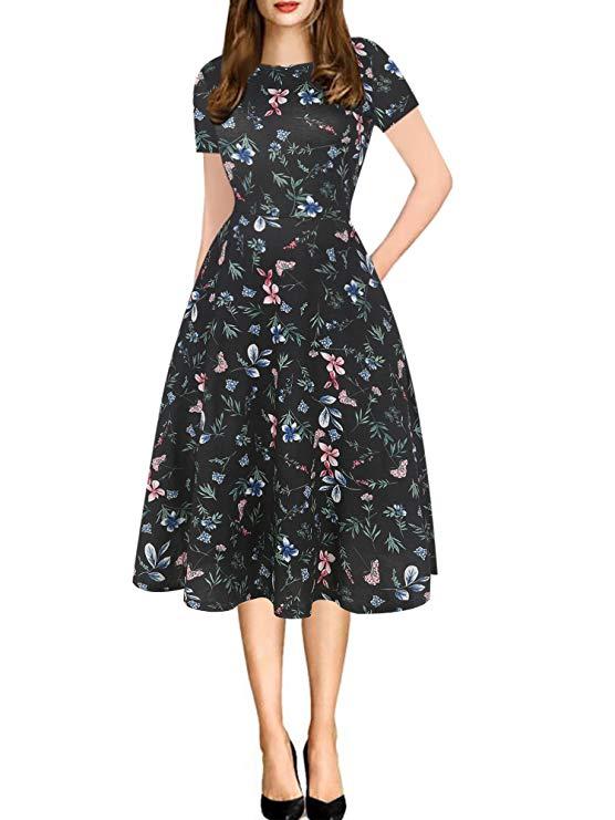 Oxiuly của phụ nữ cổ tròn hoa giản dị túi áo đuôi gà * sẽ T-Shirt A-line dress ox262