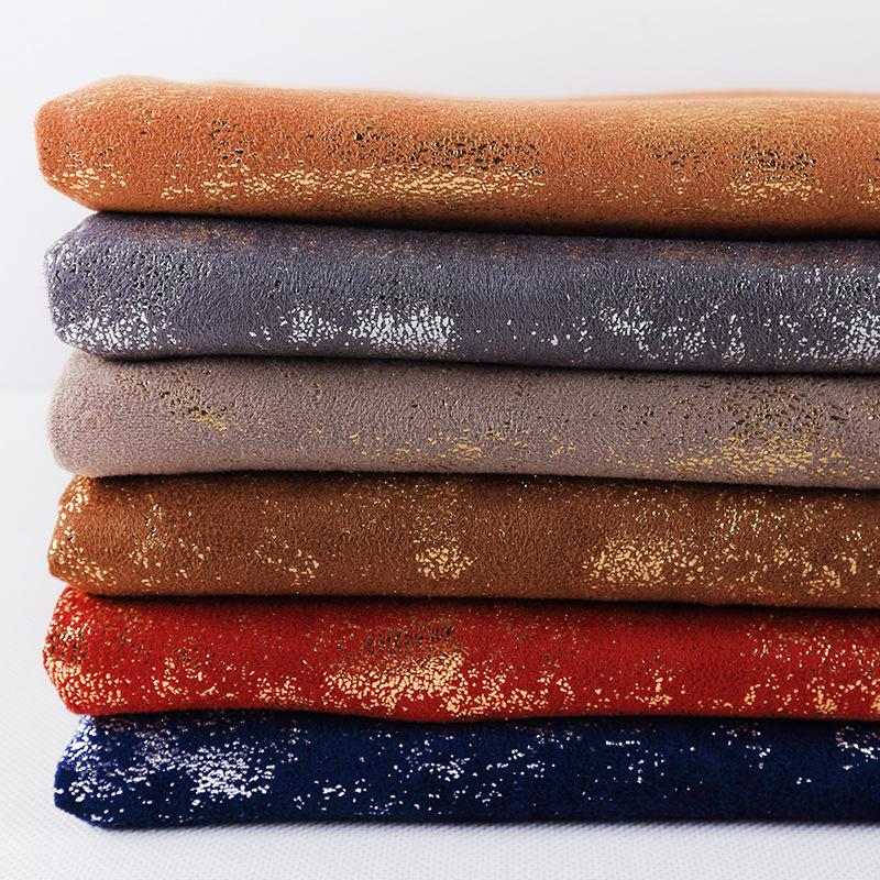 [Suede] Mùa thu và mùa đông nóng sợi ngang dệt kim vải polyester Composite bronzing bốn mặt đàn hồi