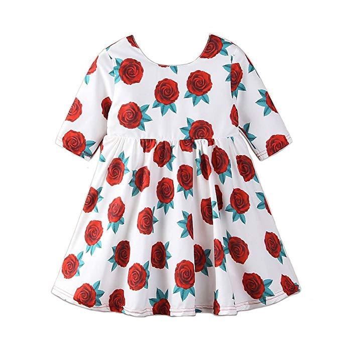 Samgami bé trẻ em Châu Âu và Mỹ mùa hè cô gái mới dresses Rose flower in tay áo đầm Dễ Thương thời t