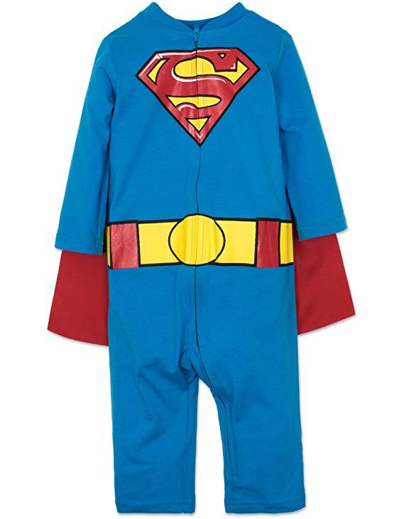 Baby boy superman quần áo jumpsuit với chiếc áo choàng