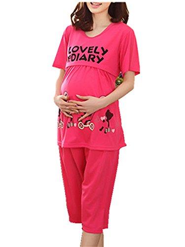 Quần áo thai sản Cotton phim hoạt hình động vật ngắn tay phụ nữ mang thai cho con bú đồ ngủ set phụ