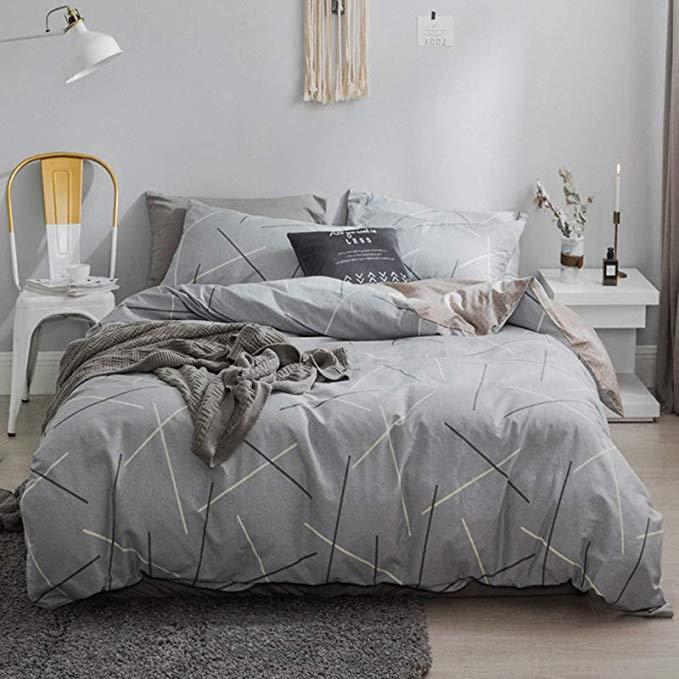 J.H.Longess 40 mật độ cao cotton phản ứng in bốn mảnh cotton đơn giản gió tươi bộ đồ giường kit (Sta