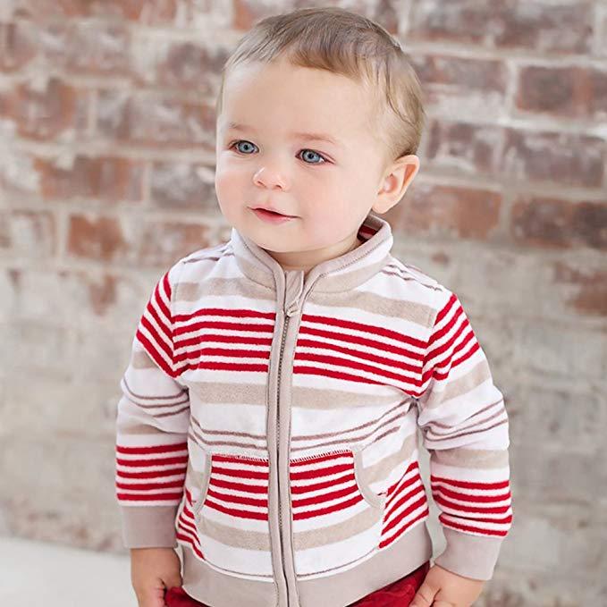 David Bella trẻ em mùa thu của nam giới bé áo khoác cậu bé in đứng cổ áo dây kéo áo khoác cardigan 1