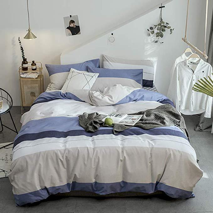 Mài bốn bộ cotton dày 100% cotton sinh thái chà nhám mùa đông đơn giản ấm Châu Âu bộ đồ giường bốn b