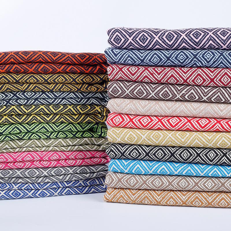 Sợi nhuộm jacquard vải polyester bông lanh kiểu hoa văn phong cách .