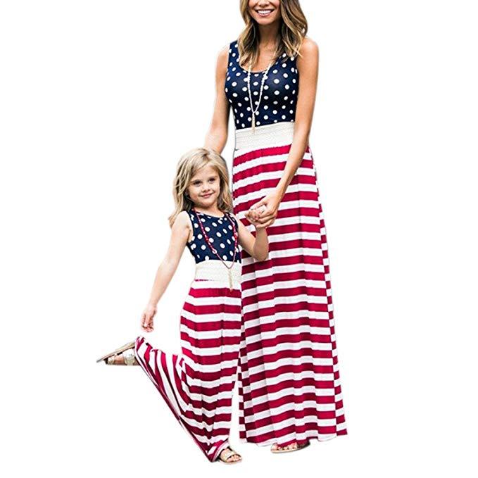 Thời Trang cho Gia đình : Đầm ,maxi in hình cờ mỹ cho mẹ và bé .
