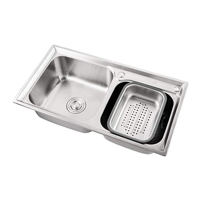 Vật dụng cho Nhà bếp : bồn rửa chén Rãnh Đôi bằng INOX cao cấp .