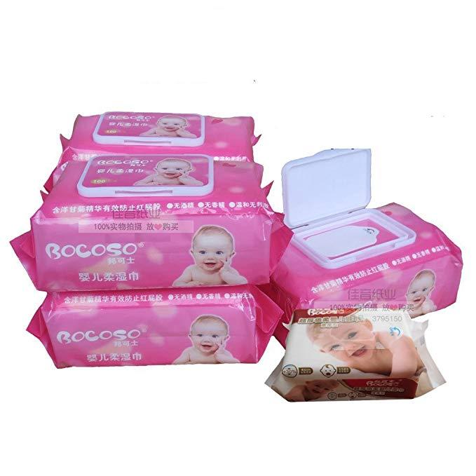 Hộp 5 khăn ướt cho trẻ sơ sinh BOCOSO màu hồng có nắp đậy