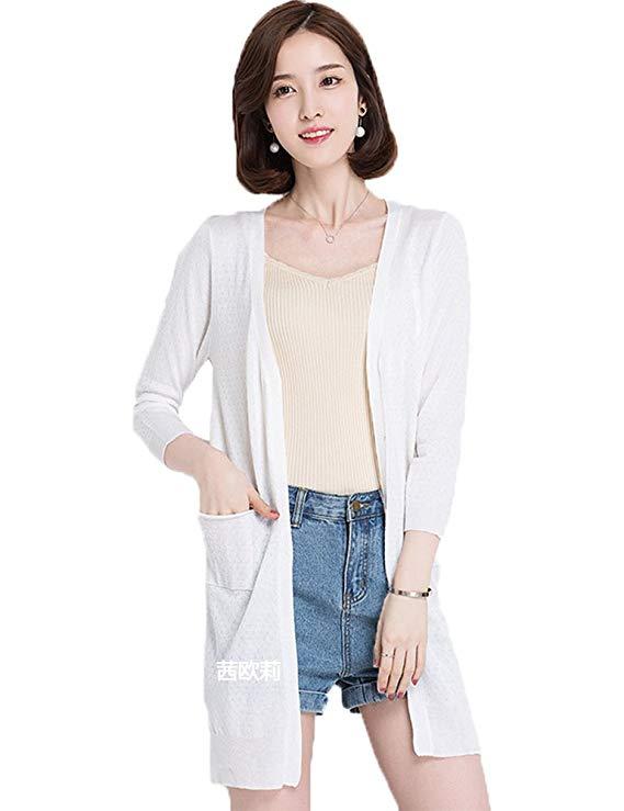 Áo khoác len mỏng dệt kim tay dài