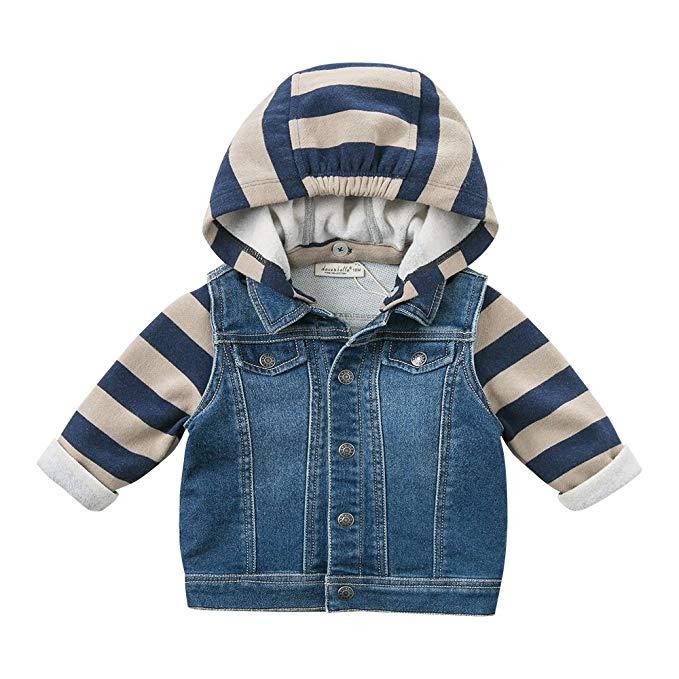 Davebella david Bella mùa thu cậu bé mới bé trùm đầu denim jacket casual áo khoác DB8705