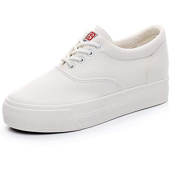 Giày thể thao đế cao màu trắng thời trang