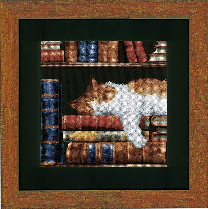 Tranh thêu chữ thập mèo Vervaco ngủ trên giá sách
