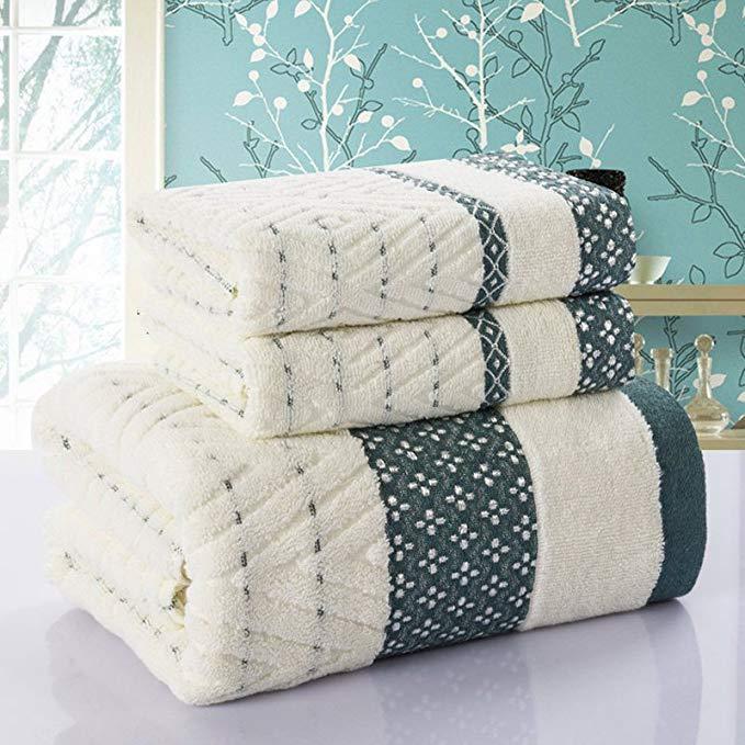 Lingge khăn bông khăn tắm ba mảnh phù hợp với 1 khăn tắm 70 * 140cm + 2 khăn 33 * 75cm bông thấm khă