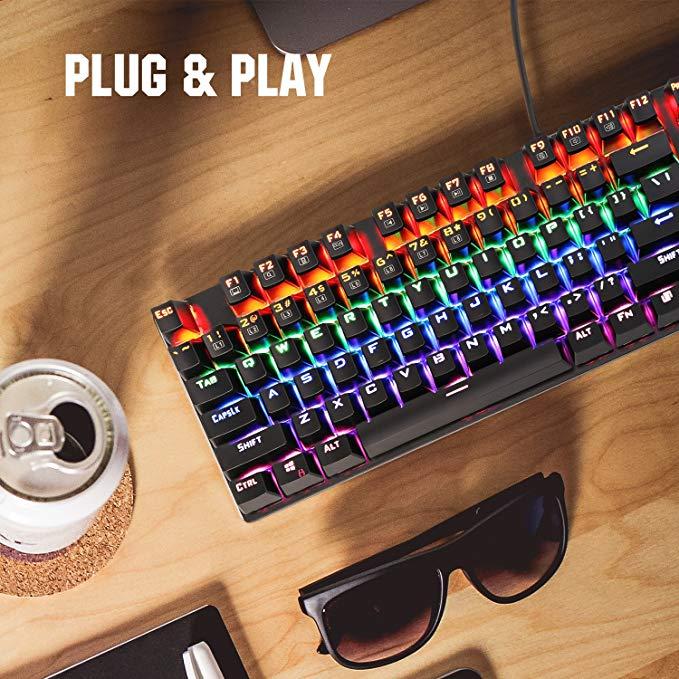 MoKo kim loại cơ khí bàn phím màu đen trục 104 phím chuyên nghiệp e- thể thao bàn phím chơi game bac