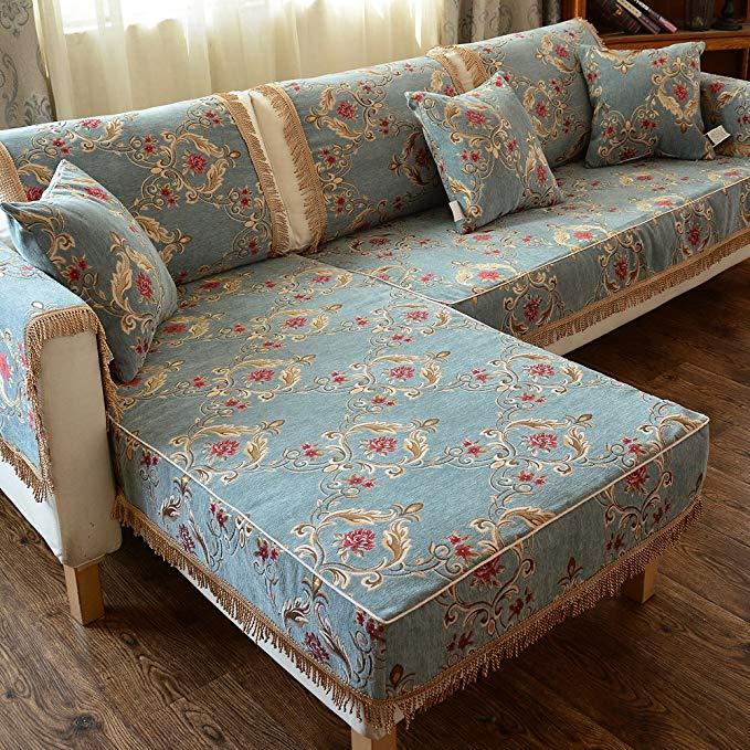 Le Wei Shi chenille phong cách Châu Âu sofa, sofa đệm bốn mùa đệm da sofa set non-slip bốn mùa sofa