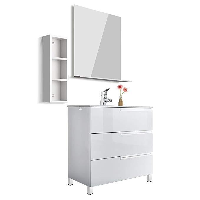 Bộ tủ sang trọng cho phòng tắm (bao gồm gương tủ và vòi) 1000mm