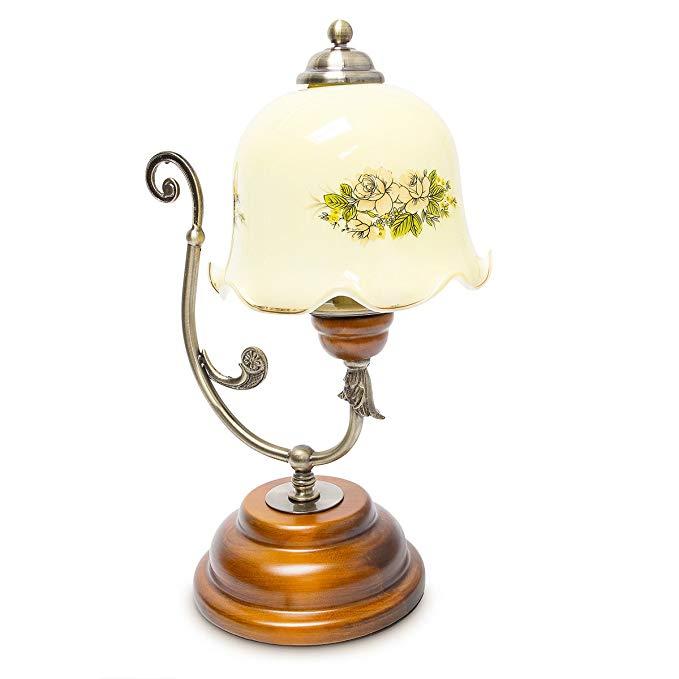 Đèn bàn retro đơn giản thiết kế thời trang bằng gỗ kim loại thủy tinh 10018486