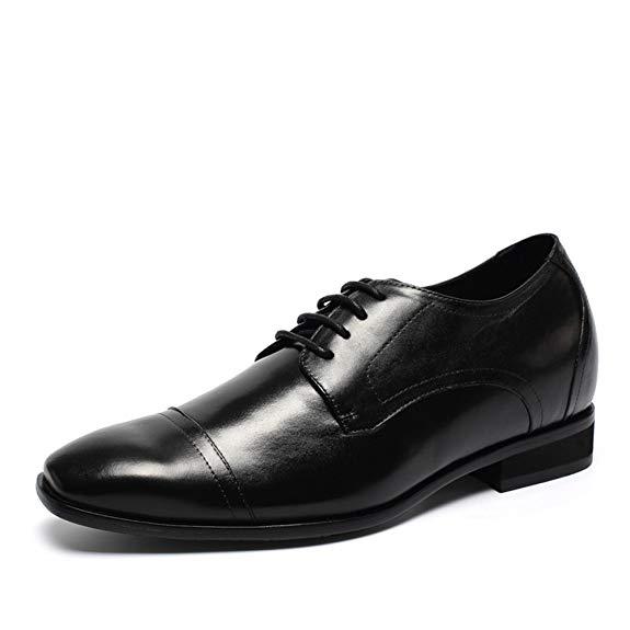 Giày tây nam tăng chiều cao 8cm da bò He Jinchang