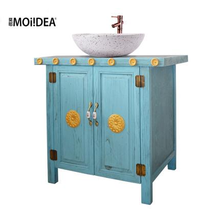Moye Địa Trung Hải nông thôn retro tủ phòng tắm sàn gỗ rắn tủ phòng tắm tủ rửa lưu vực kết hợp gói