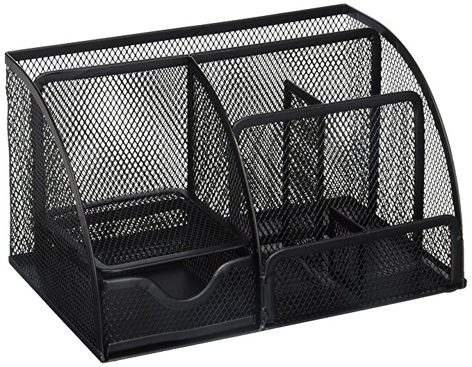 Thiết bị văn phòng : Hộp lưu trữ Để bàn, 6 Ngăn lưới, màu đen - Greenco Grid