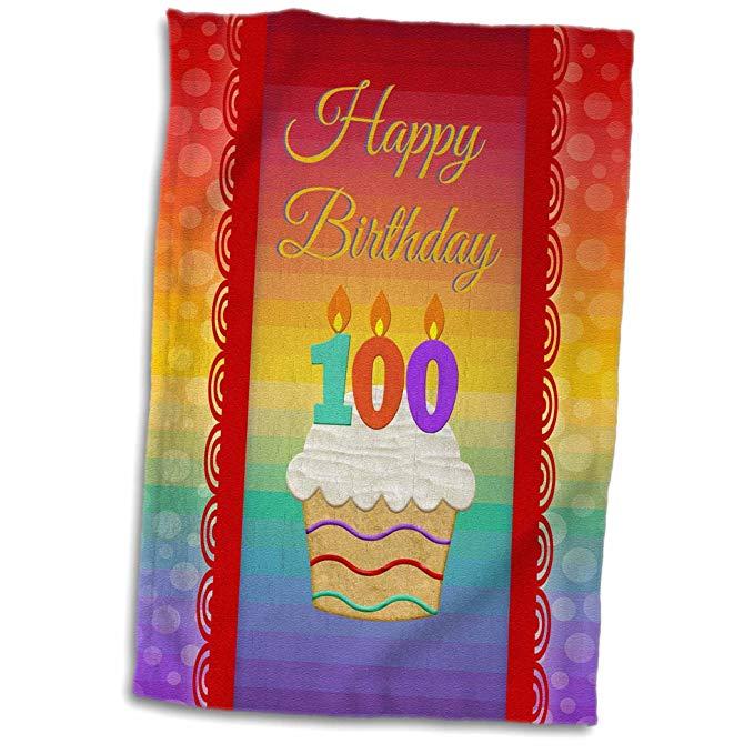 3D Rose Cupcake với nến kỹ thuật số - 100 tuổi sinh nhật khăn tay, 38,10 x 55,88 cm