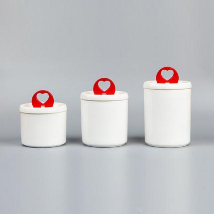 Bộ 3 ly sứ có nắp trái tim đỏ nhiều kích cỡ Minghe