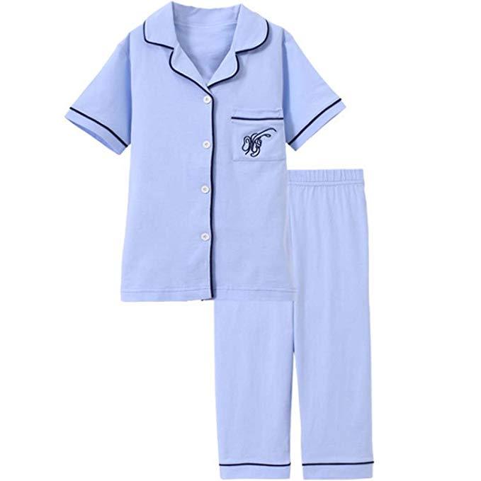 YD Yu Di Trẻ Em đồ ngủ ngắn tay áo Chàng Trai và cô gái Đặt Một bông trẻ em mùa xuân và mùa hè mô hì