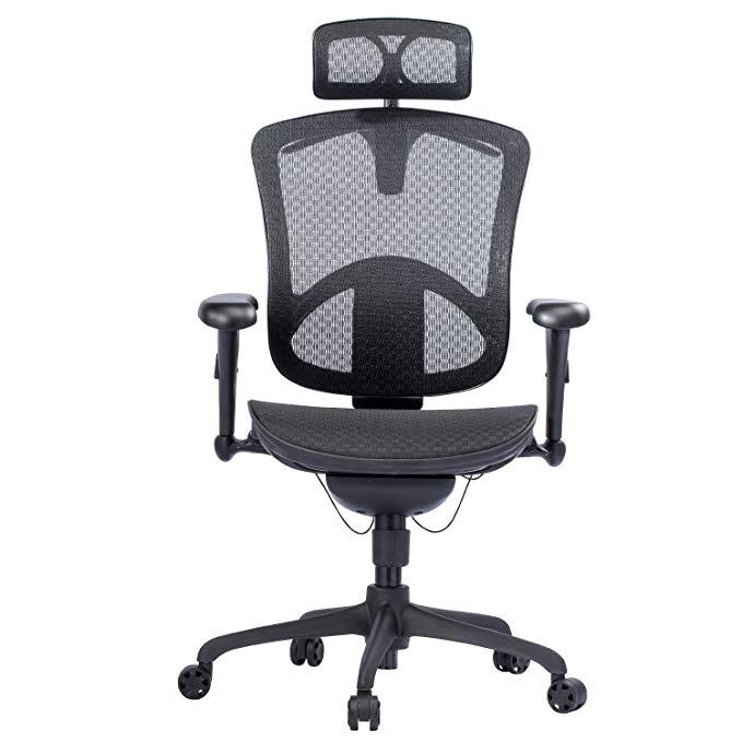 Ghế xoay linh hoạt , ghế máy tính với tựa đầu ergonomic lưới .