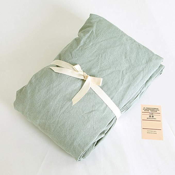 Bộ đồ giường tốt kiểu Nhật Bản Jeanpop Bộ khăn trải giường bằng vải cotton màu đã được rửa sạch bằng