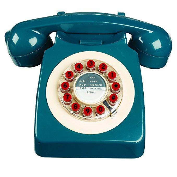 Hoang dã và sói quay retro điện thoại nhà cố định xăng màu xanh