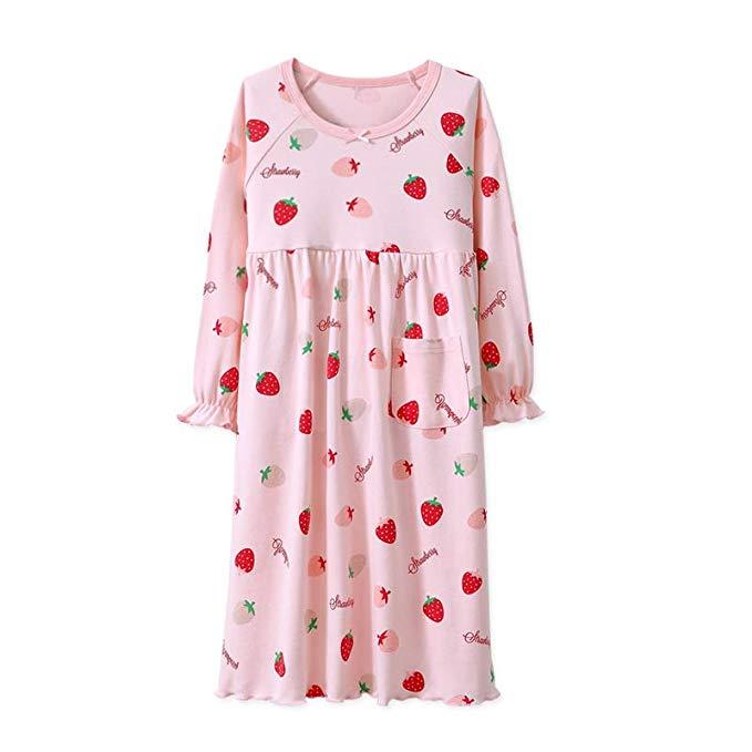 Mẹ và cha trẻ em bông dài- tay nightdress cô gái bông mùa xuân và mùa thu đồ ngủ bé lớn trẻ em trẻ e
