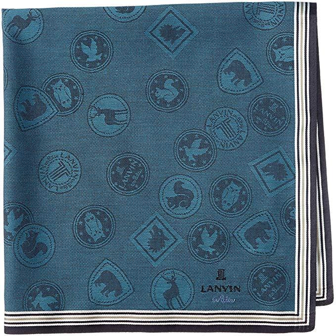 [LANVIN en Bleu] Nam giới đầu tiên nhuộm khăn tay sọc hình ổn định chế biến người đàn ông