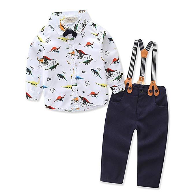 Samgami bé trai châu Âu và Mỹ mùa xuân và mùa thu mới dài tay áo thiết lập cậu bé khủng long in áo đ