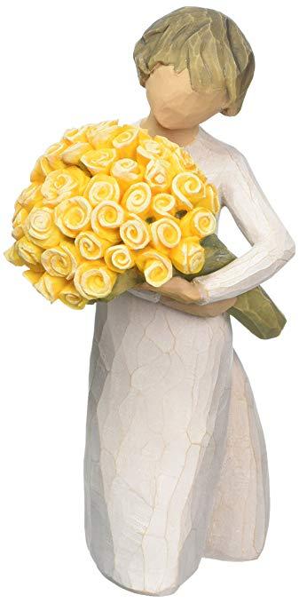 Tượng gỗ để bàn Cô gái ôm bó hoa hồng Willow Tree